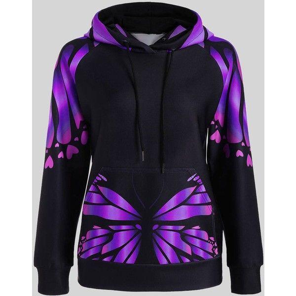 Purple 2xl Plus Size Butterfly Printed Kangaroo Hoodie ($15) ❤ liked on Polyvore featuring tops, hoodies, plus size hoodies, sweatshirt hoodies, women's plus size hoodies, blue hoodies and blue plus size tops