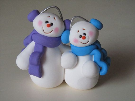 Polymer Clay Snowman Couple Figurine by ClayPeeps on Etsy, $15.00