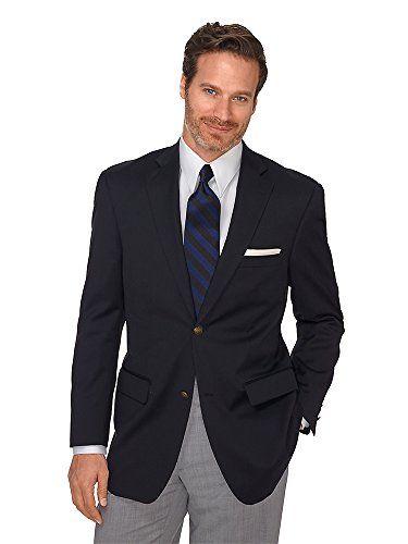 Paul Fredrick Men's 100% Wool Two-Button Travel Blazer Black 48 Long