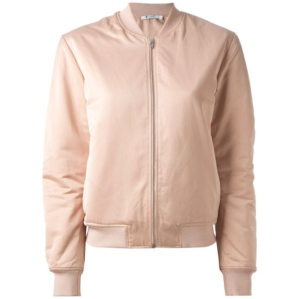 ALEXANDER WANG T Satin Bomber Rose ($395) ❤ liked on Polyvore featuring outerwear, jackets, tops, bomber jacket, pink jacket, flight jacket, flight bomber jacket and t by alexander wang
