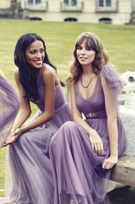 Kelsey Rose purple tulle brideasmaid dresses / http://www.himisspuff.com/purple-wedding-ideas/16/