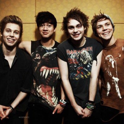 In this picture of 5sos, you can see Calum and Luke smiling at the camera, Michael standing like a 5 year old girl, and Ashton not even facing in the right direction. lol! Love these guys!