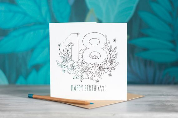 Colour-In Number/Age Birthday Card - 18 by PaperVeilStationery now at https://ift.tt/2K40IZ8