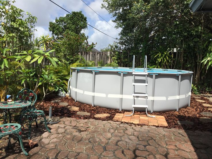 Intex ultra frame pool 16 39 x 48 with landscaping for A frame pools and spas