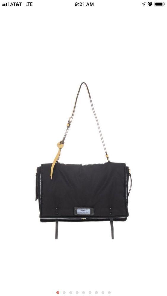 PRADA Etiquette Black Blue Nylon With Leather Strap Flap Messenger  Crossbody Bag  handbag  bags  louisvatton  prada  guccigang 260960c687