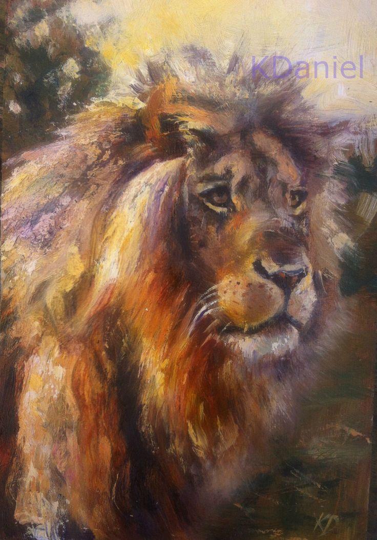 Lion in evening light- Original oil painting print by KeithDanielart on Etsy
