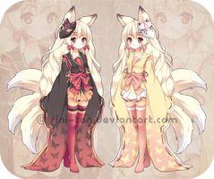 Adoptables ~ Kitsune Twins [SOLD!] by =Rini-tan on deviantART