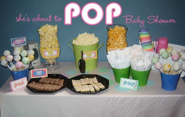 shes about to POP themed popcorn and dessert bar for a shower, love it!