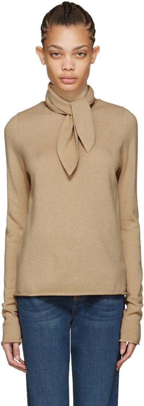 Chloé: ブラウン ネック タイ セーター | SSENSE