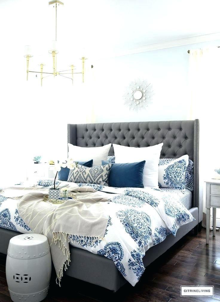 White Bedding Ideas Blue Bedroom Ideas Bedroom Blue And White Bedding Bedroom Id In 2020 Grey Bedroom Design Blue And White Bedding Blue Bedroom Walls