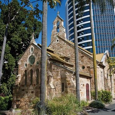 All Saints' Church, Wickham Terrace: is a very early example of the Gothic Revival style in ecclesiastic architecture in Brisbane, with distinctive design features including the simple lancet windows, buttressed walls and a hammer beam roof #boh2014 #unlockbrisbane #brisbane #discoverbrisbane