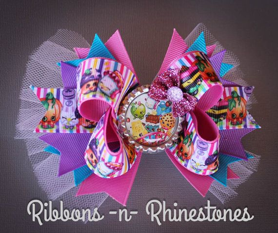 Colorful Shopkins Boutique Hair Bow, Shopkins Birthday Bow, Shopkins Party Bow…
