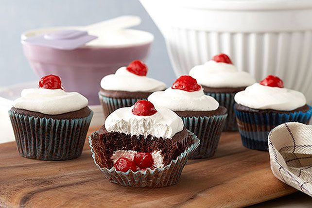 Sure, you've tried classic black forest cake but have you ever had a Black Forest-Stuffed Cupcake?  Now is your chance - bake up a batch of chocolate cupcakes with cherry pie filling and a cream cheese centre and then finish them off with a dollop of COOL WHIP.