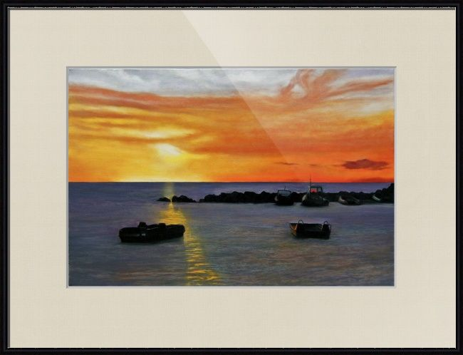 """""""Giglio Sunset"""" by Matthew Bates, Firenze, Italy // Giglio SunsetOil on Canvas - 60cm x 40cm©2011, Matthew Bates, Firenze, Italia // Imagekind.com -- Buy stunning fine art prints, framed prints and canvas prints directly from independent working artists and photographers."""