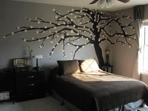 disegno muro angolo letto decorazione albero
