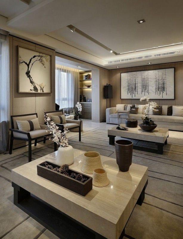 WAN INTERIORS Residential, PARK RESIDENCE mesa de living de marmol de carrara con brillo
