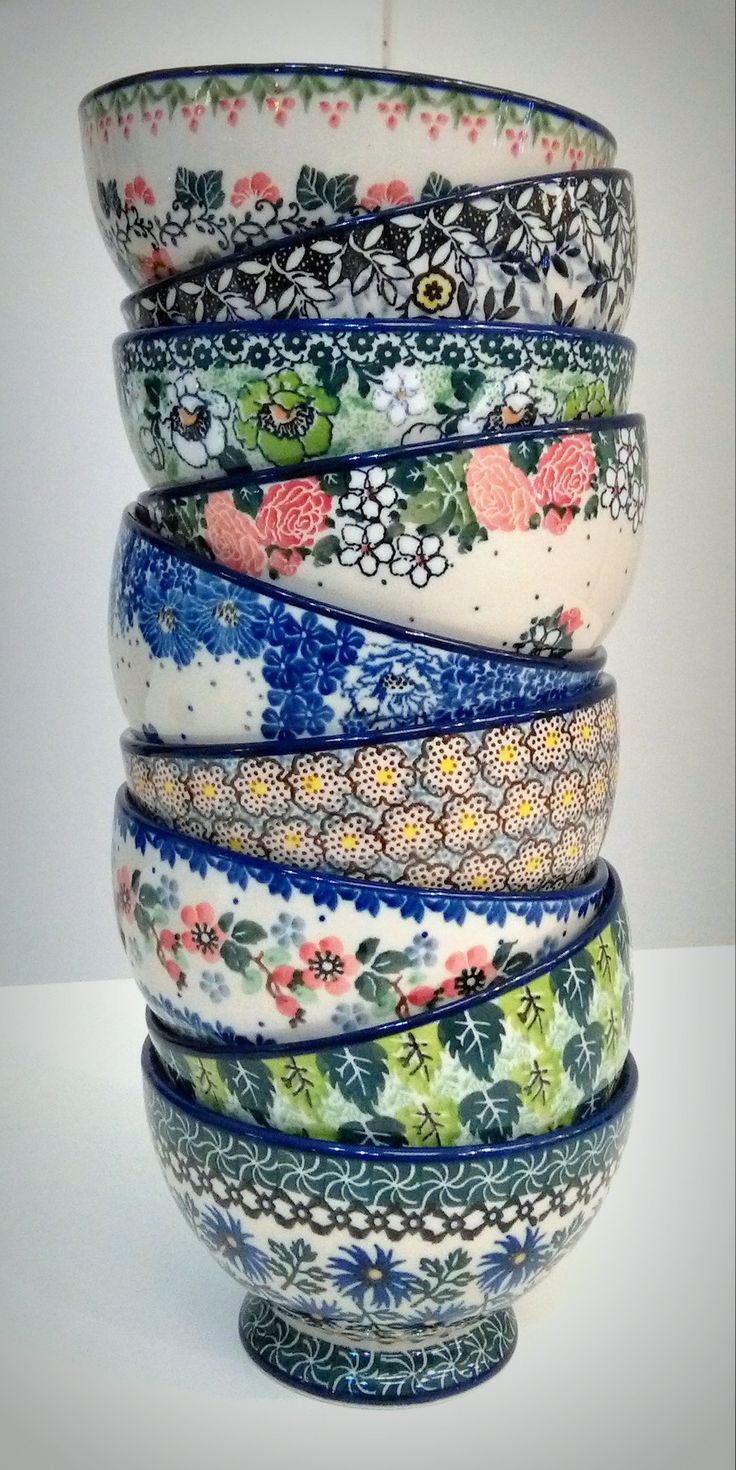 Cute bowls from our store slavicapottery.com. Polish pottery with free delivery!