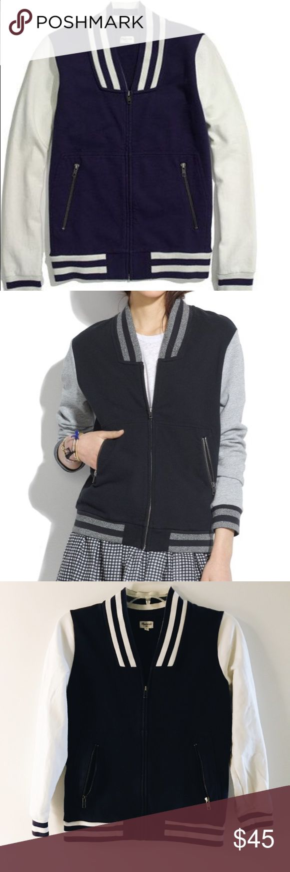 Madewell varsity sweatshirt Blue and white zip up jacket. 100% cotton ***will not ship until 4/19*** Madewell Tops Sweatshirts & Hoodies
