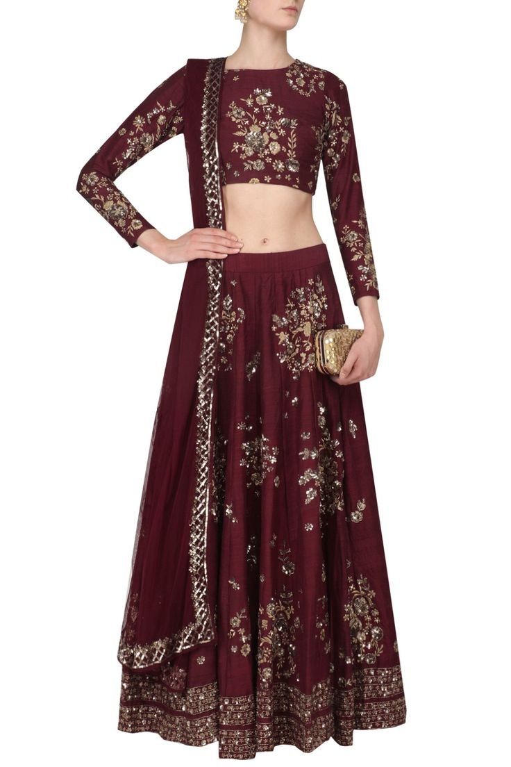 ASTHA NARANG - Wine and Gold Floral Sequins Embroidered Lehenga Set #AsthaNarang #wine #gold #floral #sequins #embroidered #lehenga #perniaspopupshop #perniaqureshi #indowestern #contemporary #indianstyle #indianfashion #indiandesigner #happyshopping