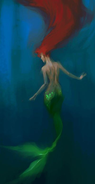 """""""...to slip beneath the surface and soar along the silent bottom of the sea agile and shining in water honeycombed with light.""""  ― Ellen Meloy (murmaid art by MeryChess)"""