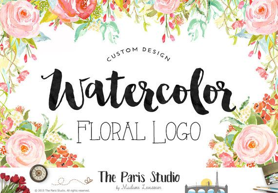 Complete Custom Logo Design Watercolor Floral by TheParisStudio