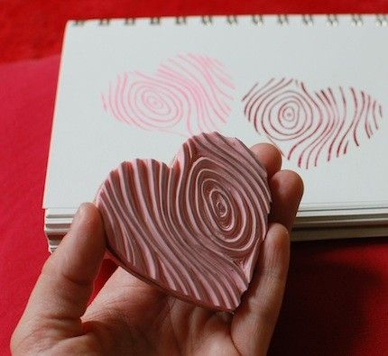 faux bois heart hand carved stamp
