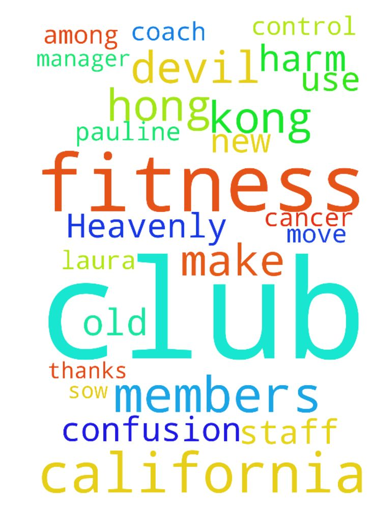 CALIFORNIA FITNESS CLUB IN HONG KONG  My Heavenly Father, - CALIFORNIA FITNESS CLUB IN HONG KONG My Heavenly Father, California Fitness Club. The California Fitness Club they use the devil chicken., devil women, Pauline, Susana, Anita, Laura, Gloria, and the class Schedule Manager Grace, and their devil party to make confusion, and intimidate, stalker, nuisance the new and the old members in the zumba classes, aND USE SORCERY TO CONTROL AND HARM PEOPLE, MONITOR EVERY MOVE OF THE MEMBERS…