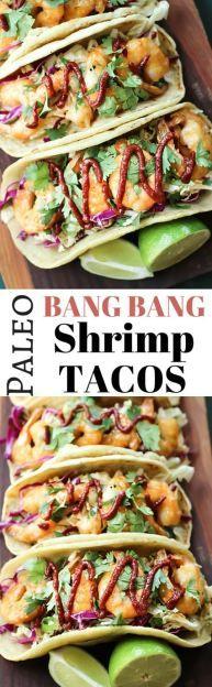 Paleo Bang Bang Shrimp Tacos - This recipe tastes JUST like the real thing! | wickedspatula.com
