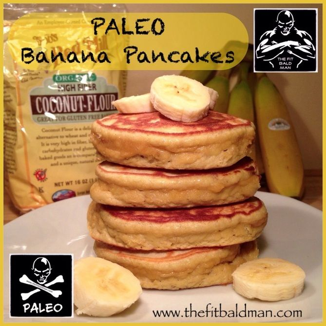 paleo banana pancakes - THE FIT BALD MAN...some of the reviews on this were not favorable but I thought they were yummy! I'm not on a paleo diet so I added some liquid stevia and topped with a little cinnamon walden farms syrup!