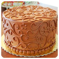 Chocolate cake with scrolled decor from Cakes By Request