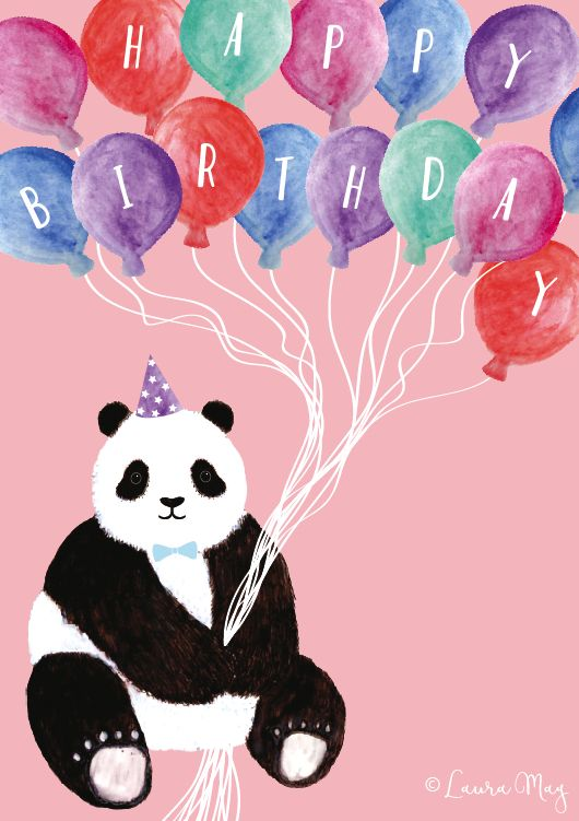 Happy birthday panda card @lauramaydesignstudio