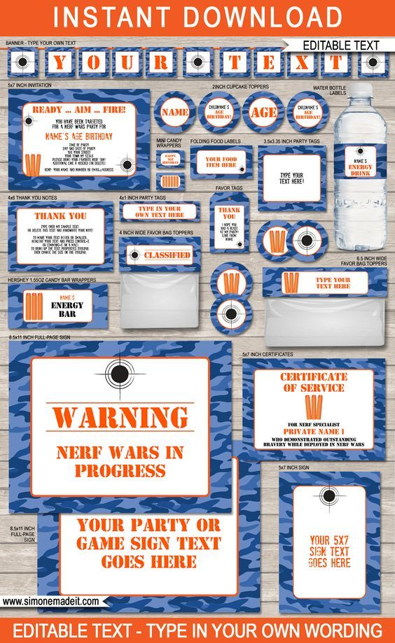 Blue Camo Nerf Party Printables, Invitations and Decorations | DIY Birthday Party Theme  | Editable and Printable Templates | $12.50 INSTANT DOWNLOAD via simonemadeit.com