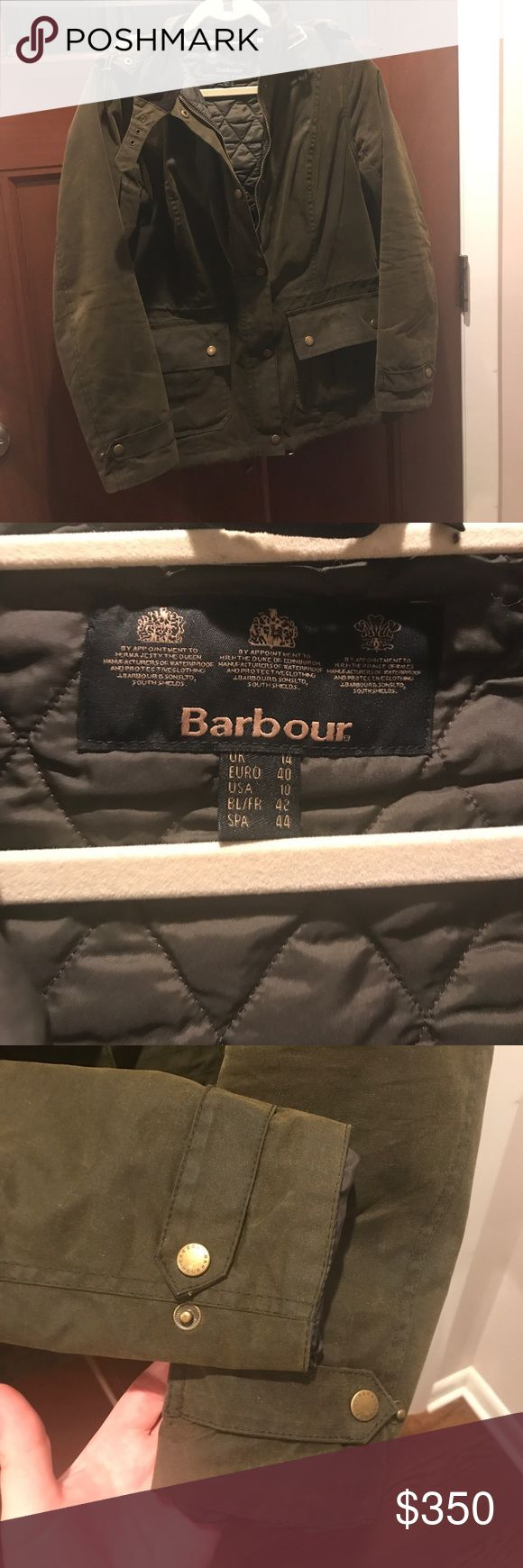 Barbour Jacket Barbour jacket classic khaki color detachable hood. Waxed finish has quilted lining two from pockets classic sleeve with clasp has elastic to cinch waist line size USA 10. Worn one season a few times still has wax coating Barbour Jackets & Coats Utility Jackets