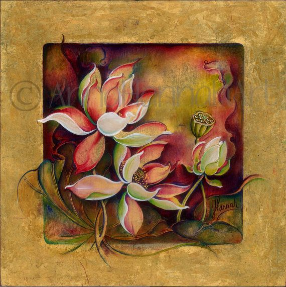 white purple burgundy lotus flowers family by AnnaHannahArt