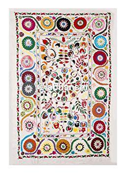 Hippie Boho Vintage Suzani broderie couverture motif floral lit couvre lit Antique Soie à la main Broderie Tapisserie Table Ouzbékistan Suzani Vêtements Couvre-lit ethnique mur suspendu