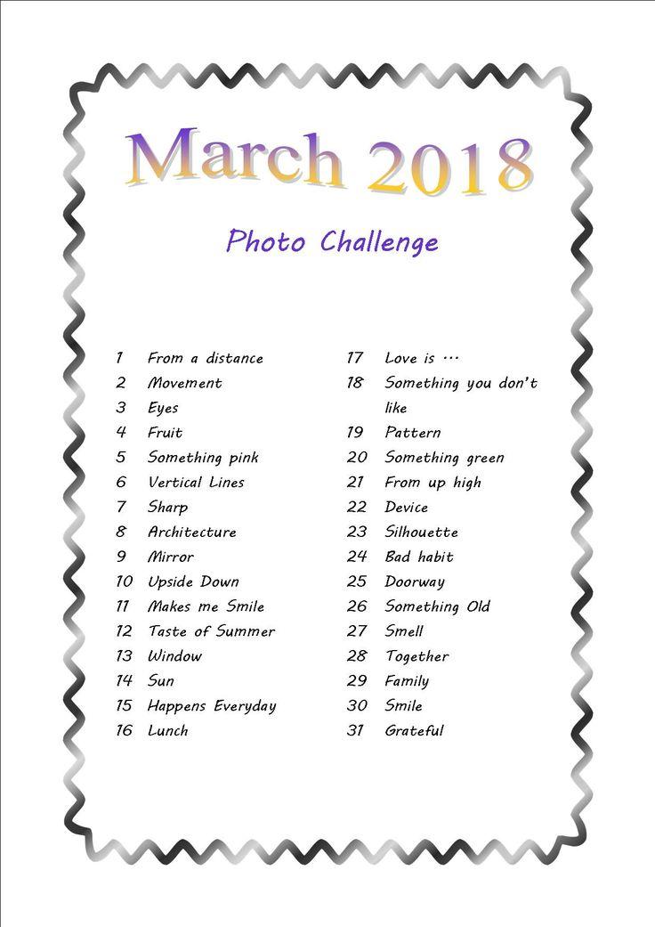 My March Photo Challenge List