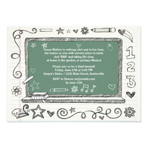 Green Board Teachers Retirement Party Invitation Teacher