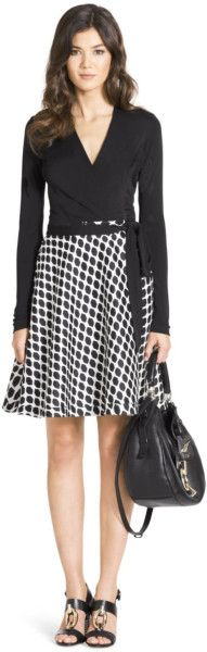 Dvf Amelia Silk Combo Flared Wrap Dress Wrap Dress