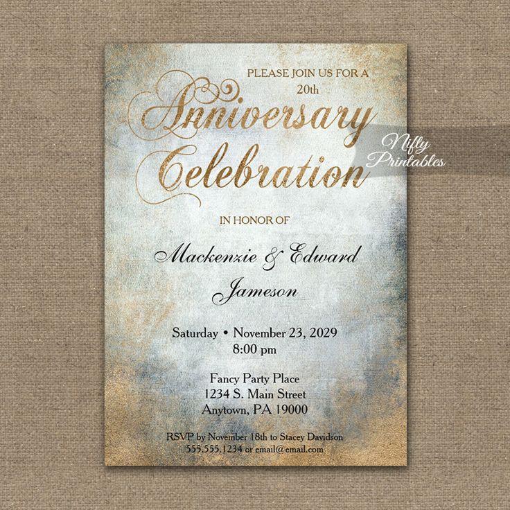 sapphire wedding anniversary invitations%0A Anniversary Invitation Painted Copper PRINTED