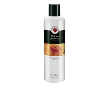 CREMA DE QUINUA PARA CUERPO 400 ML  Crema para cuerpo que nutre y protectora e hidrata profundamente la piel. Especialmente formulada para devolver la suavidad a las pieles secas y sensibles, con escamas o irritadas. Contiene quinua, poderoso hidratante y nutriente.