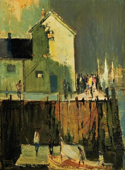 "'Evening Tourists, Rockport Harbour'. Oil on board. 20"" x 15"". Sold for $1,092.50 on November 29, 2013."