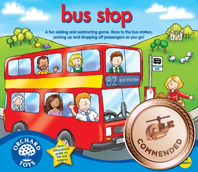 Orchard Toys - Bus Stop Game: Pick up the passengers as you go! A fun addition and subtraction game. Take a counter and throw the two dice to move around the board, counting passengers on and off your big bright bus. The winner is the player with the most passengers when their bus finally arrives at the bus station.This game encourages children to communicate, share and play together and develop decision-making, addition and subtraction maths skills.
