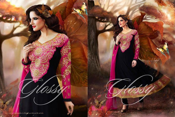 Glossy Georgette Black Semi Stitched Salwar Suit