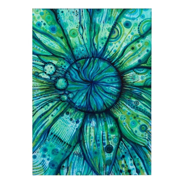 Zielony kwiat | Rysunek | 29,7 x 21 cm