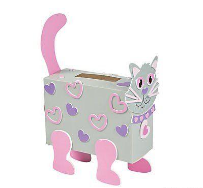 Valentine Classroom Sharing Cat Card Holder Box Craft Kit