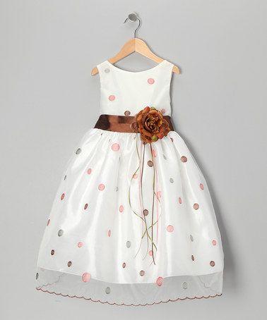Look what I found on #zulily! Brown & Silver Polka Dot Flower Dress - Toddler & Girls #zulilyfinds
