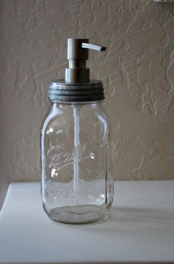 Mason Jar Soap Dispenser Farmhouse Industrial by ourlovelybungalow, $20.00