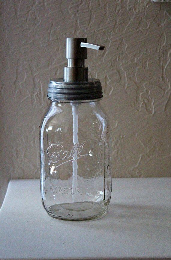Mason Jar Soap Dispenser Farmhouse Industrial by ourlovelybungalow, $20.00