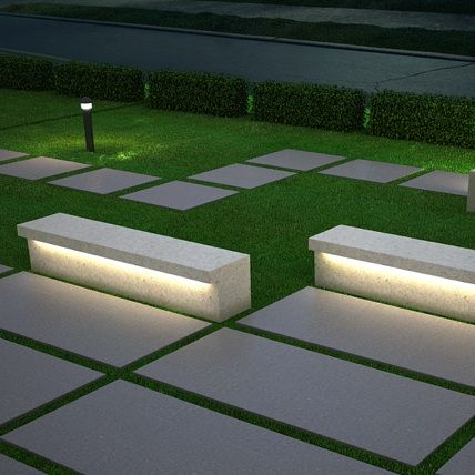 Cast Stone | LED 2 Public Seating Bench