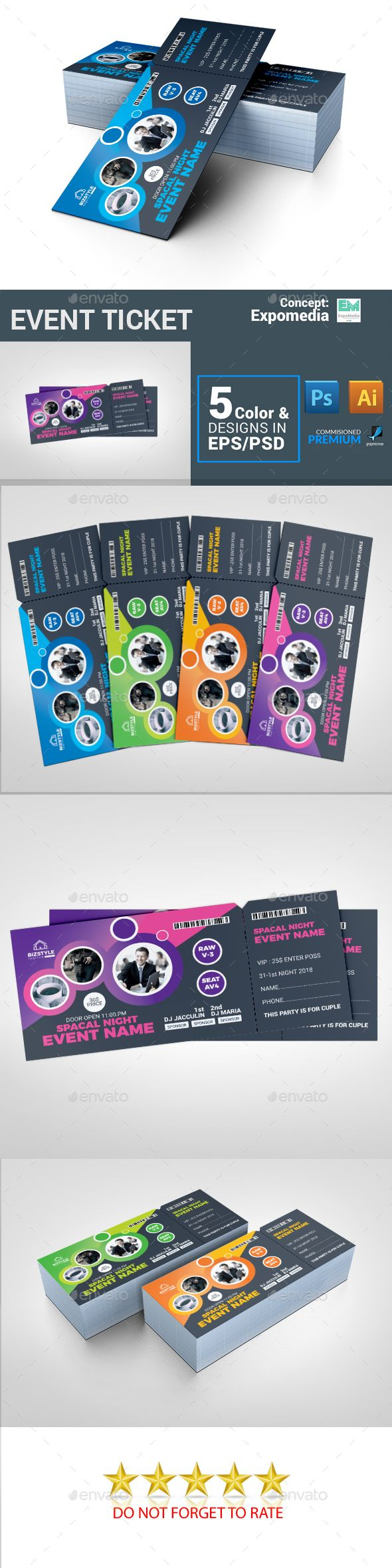 Event Ticket — Photoshop PSD #movie night #event tickets • Download ➝ https://graphicriver.net/item/event-ticket/21176093?ref=pxcr